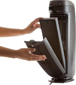 Alen T500 Tower Air Purifier open showing filter